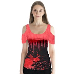 Bloody 2 Halloween V2 Butterfly Sleeve Cutout Tee by CoolDesigns