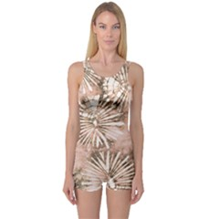 Beige Tie Dye 2 One Piece Boyleg Swimsuit by CoolDesigns