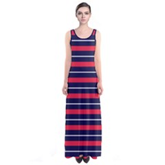 Red Stripes Sleeveless Maxi Dress by CoolDesigns