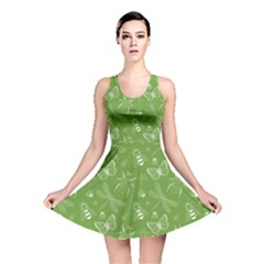 Neon Green Insect Pattern Reversible Skater Dress  by CoolDesigns