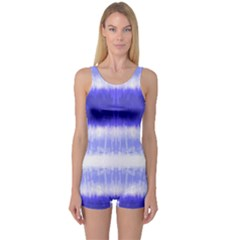 Blue Tie Dye One Piece Boyleg Swimsuit by CoolDesigns
