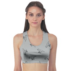 Light Gray Tyrannosaurus Sport Bra by CoolDesigns