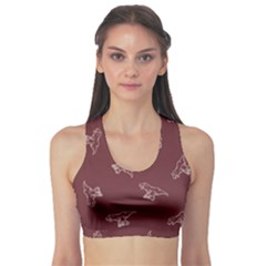 Marsala Tyrannosaurus Sport Bra by CoolDesigns