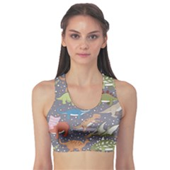 Gray Dinosaur 3 Sport Bra by CoolDesigns