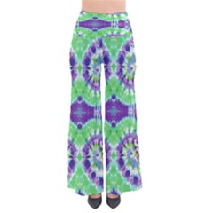 Neon Green Tie Dye Palazzo Pants by CoolDesigns