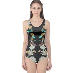 Dry Floral Cut Out One Piece Swimsuit by CoolDesigns