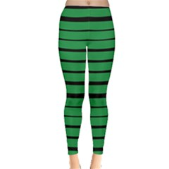 Green Dark Stripes Leggings  by CoolDesigns
