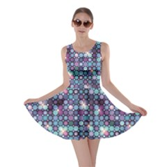 Blue Blue and Violet Circle Lights Skater Dress by cowcowclothing