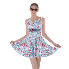 Blue Colorful Dotted Music Pattern with Aquatic Musical Skater Dress by CoolDesigns