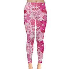 Pink Pattern With Hand Drawn Outlines Frangipani Plumeria Women s Leggings by CoolDesigns
