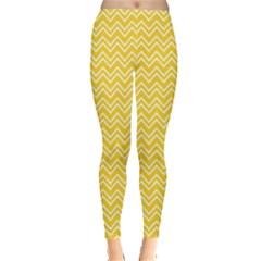Yellow Yellow and White Chevron Pattern Women s Leggings by CoolDesigns