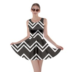 Black Black and White with Zigzag Pattern Skater Dress by CoolDesigns