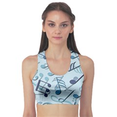 Blue Pattern with Music Notes Women s Sport Bra by CoolDesigns
