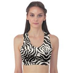 Black Zebra Skin Pattern Women s Sport Bra by CoolDesigns