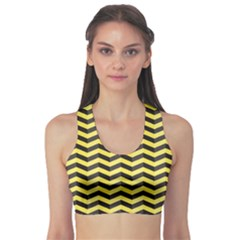 Green Black and Yellow Chevron Pattern Women s Sport Bra by CoolDesigns