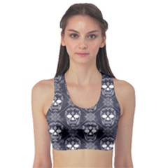 Blue Pattern with Skulls Grunge with Drops And Women s Sport Bra by CoolDesigns