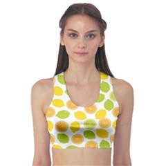 Yellow Pattern with Lemon Lime Orange on the White Women s Sport Bra by CoolDesigns