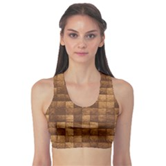 Brown Wooden Blocks Stacked Women s Sport Bra by CoolDesigns