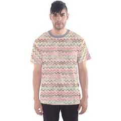 Yellow Colorful Stripes Zigzag Pattern  Men s Sport Mesh Tee by CoolDesigns