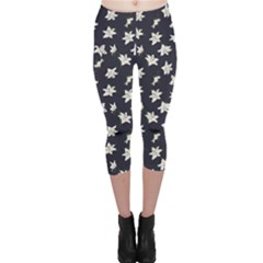 Blue Lilies Navy Print Capri Leggings by CoolDesigns