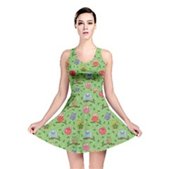 Green Pattern with Colorful Ornamental Owls on A Light Reversible Skater Dress by CoolDesigns