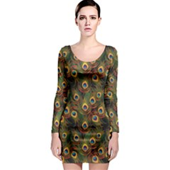 Green Pattern Peacock Feathers Long Sleeve Bodycon Dress by CoolDesigns