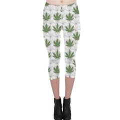 Green Marijuana Badges with Marijuana Leaves Capri Leggings by CoolDesigns