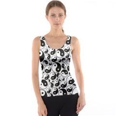 Black Yin and Yang Symbols Black and White Pattern Tank Top by CoolDesigns