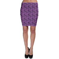 Purple Halloween Pumpkins Bats And Spiders Grungy Bodycon Skirt by CoolDesigns