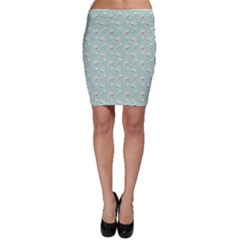 Green Pattern With Nautical Elements Bodycon Skirt by CoolDesigns