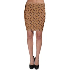 Brown Pattern of African Tribal Musicians Bodycon Skirt by CoolDesigns