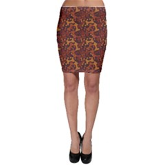Brown Pattern Bone For A Dog Bodycon Skirt by CoolDesigns