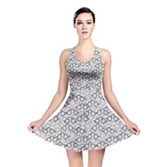 Gray Pattern Retro Glasses Reversible Skater Dress by CoolDesigns