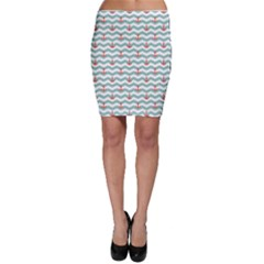 Blue Sailor Tile Pattern With Red Anchor On A White And Blue Bodycon Skirt by CoolDesigns