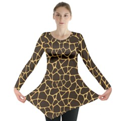 Brown A Brown And Yellow Giraffe Spotted Repeatable Long Sleeve Tunic Top by CoolDesigns