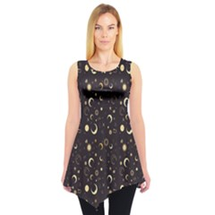 Black A Fun Night Sky The Moon And Stars Sleeveless Tunic Top by CoolDesigns