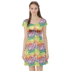 Colorful Abstract Pattern Short Sleeve Skater Dress by CoolDesigns