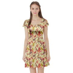 Colorful Butterfly Pattern Short Sleeve Skater Dress by CoolDesigns