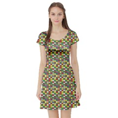 Colorful Abstract Pattern In Pop Art Style Short Sleeve Skater Dress by CoolDesigns