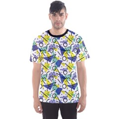 Colorful Retro Vintage 80 s Fashion Style Pattern Men s Sport Mesh Tee by CoolDesigns