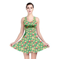 Green Easter Pattern Eggs and Chickens Reversible Skater Dress by CoolDesigns