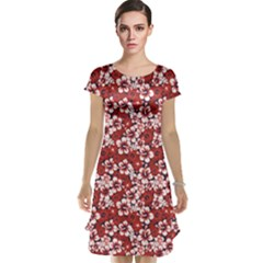Red A Surf Floral Hibiscus Pattern Cap Sleeve Nightdress by CoolDesigns