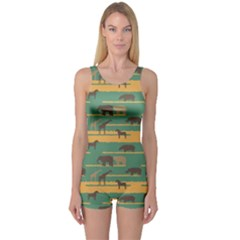 Green Pattern with African Animals Silhouettes Boyleg One Piece Swimsuit by CoolDesigns