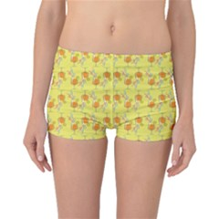 Yellow Pattern Tropical Cocktails Boyleg Bikini Bottoms by CoolDesigns