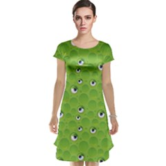Green Pattern with Bubbles and Eyes Cap Sleeve Nightdress by CoolDesigns