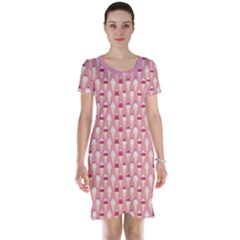 Pink Pattern with Ice Cream Cones Against Pink Short Sleeve Nightdress by CoolDesigns