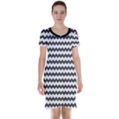 Black Chevron Pattern Short Sleeve Nightdress by CoolDesigns
