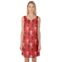 Red Bamboo Sleeveless Satin Nightdress by CoolDesigns