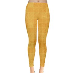 Yellow Abstract Square Doodle Pattern Leggings by CoolDesigns