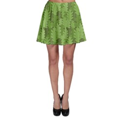 Green Green Leaves Repeating Pattern Skater Skirt by CoolDesigns